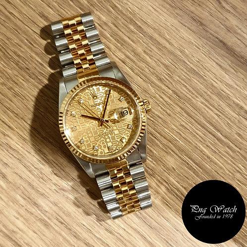 Rolex 18K Half Gold Champagne Computer Vignette Diamonds Datejust REF: 16233 (2