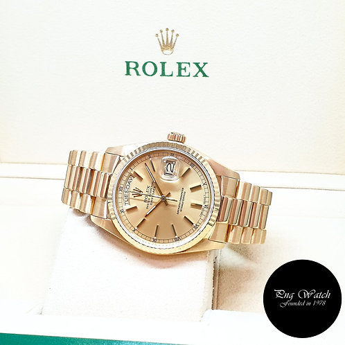 Rolex Oyster Perpetual 18K Yellow Gold Champagne Indexes Day-Date REF: 18038