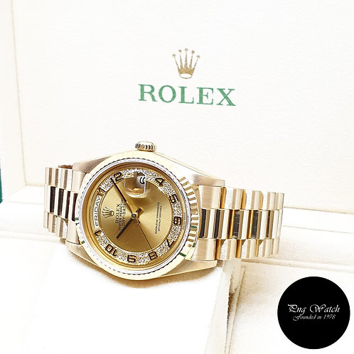 Rolex 18K Yellow Gold Champagne Pave Diamonds Day-Date REF: 18238 (S)