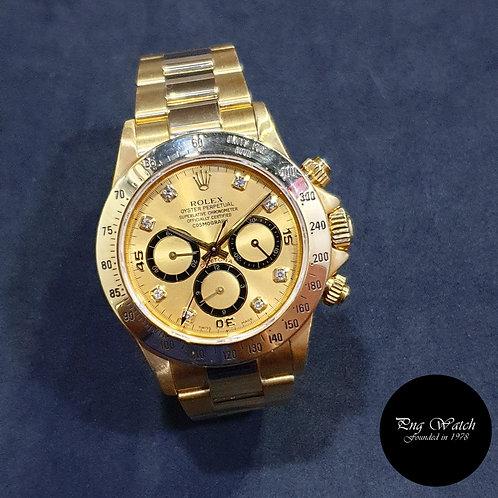 "Rolex 18K Yellow Gold Zenith Mvt ""Inverted 6"" Champagne Diamonds 16528"
