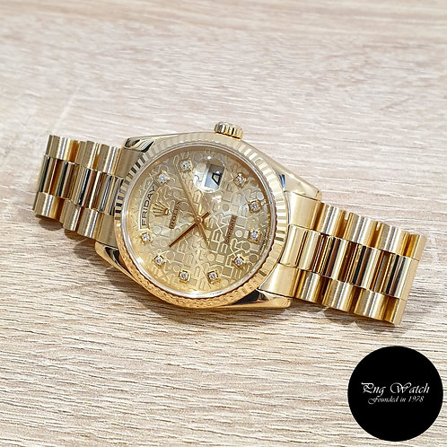 Rolex OP 18K Yellow Gold Champagne Computer Diamonds Day-Date REF: 118238 (2)