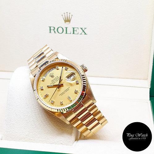 Rolex OP 18K Yellow Gold Matte Champagne Diamonds Day-Date REF: 18038
