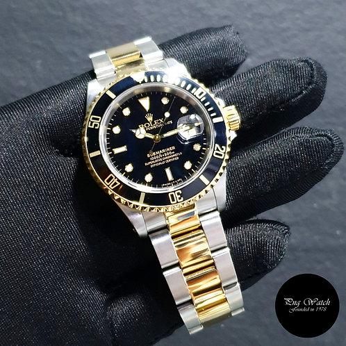 Rolex Tritium 18K Half Yellow Gold Black Submariner Date REF: 16613 (2)
