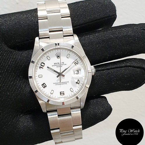 Rolex Oyster Perpetual Engine Turned Bezel White Arabic Date REF: 15210 (2)