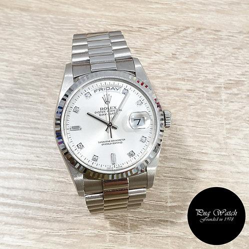 Rolex OP 18K White Gold Silver Vignette Diamonds Day-Date REF: 18239 (2)