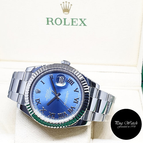 Rolex Oyster Perpetual 41mm Blue Roman Datejust REF: 116334