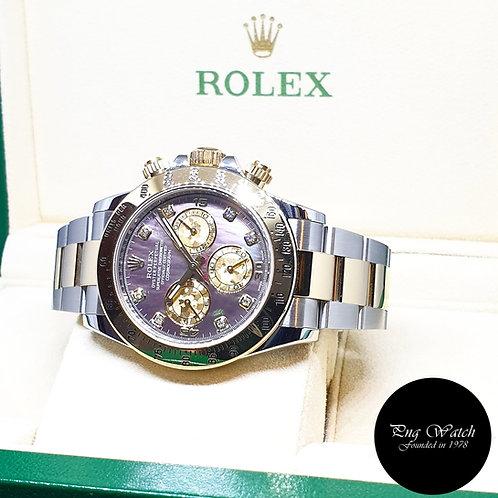 "Rolex 18K Half Gold Black MOP ""Tahitian"" Diamonds Daytona REF: 116523"