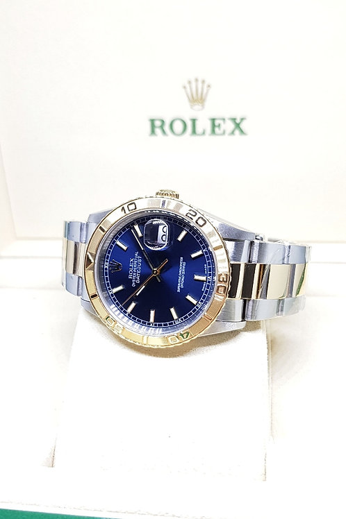"Rolex 18K Half Gold Blue Wide Boy Datejust ""Turn-O-Graph"" REF: 16263"
