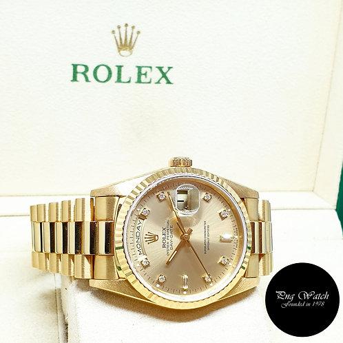 Rolex OP 18K Yellow Gold Champagne Vignette Diamonds Day-Date REF: 18238 (E)
