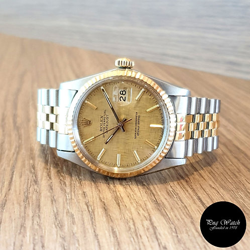 Rolex Oyster Perpetual Half Gold Champagne Linen Datejust REF: 16013 (2)