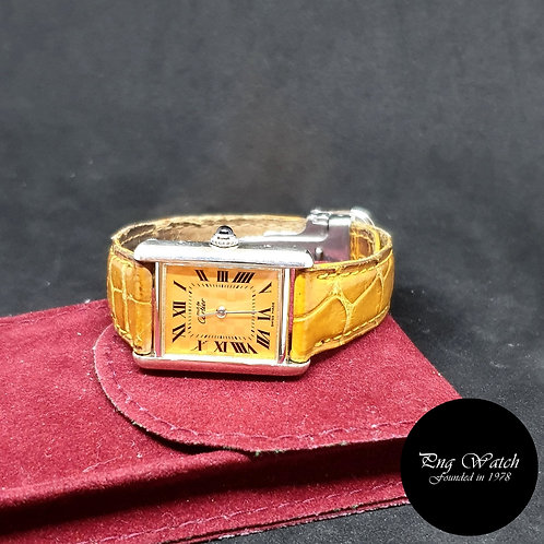 Cartier Orange Checkerboard Tank Ladies Watch REF: 2416