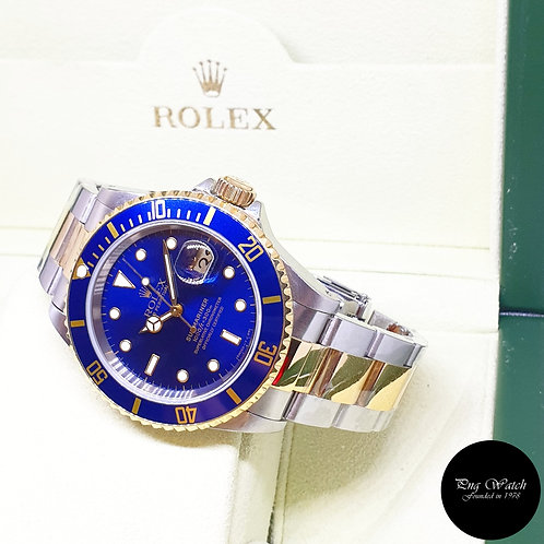 Rolex Oyster Perpetual 18K Half Gold Blue Submariner Date REF: 16613 (W Series)