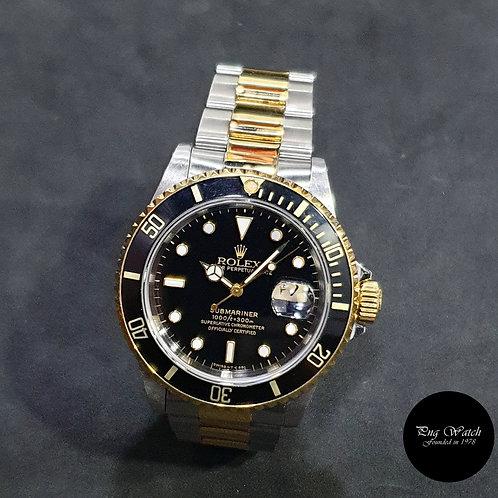 Rolex OP Tritium 18K Half Gold Black Submariner Date REF: 16613 (2)
