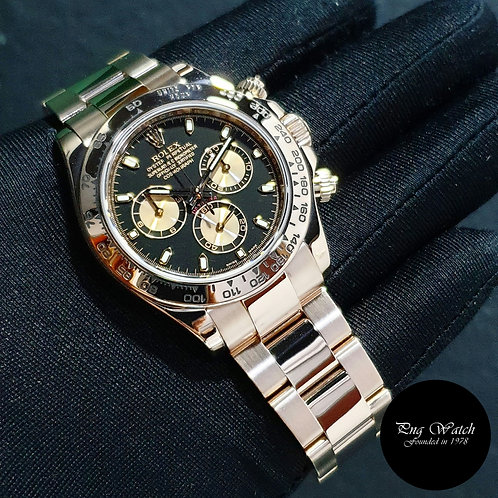 Rolex Oyster Perpetual 18K Rose Gold Black Daytona REF: 116505 (09)(2)