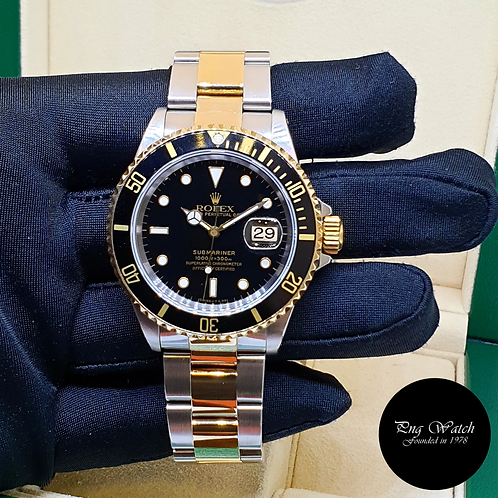 Rolex Oyster Perpetual 18K Half Gold Black Submariner Date REF: 16613 (T)