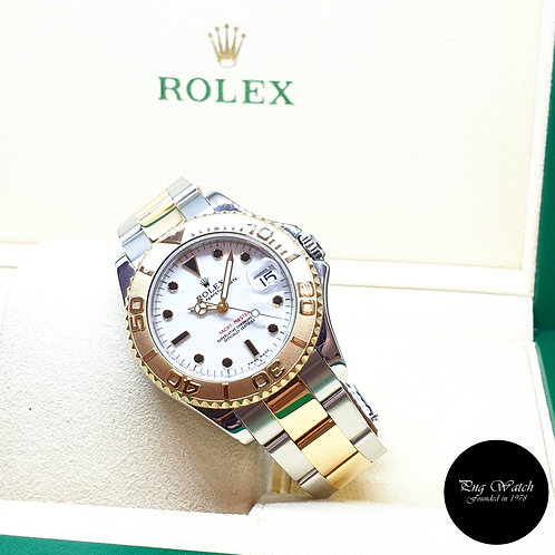Rolex Oyster Perpetual 18K Half Gold 35mm White Yachtmaster REF: 168623 (K)