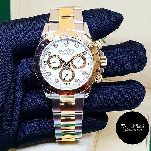 Rolex Oyster Perpetual 18K Half Gold White Diamonds Daytona REF: 116523 (2)