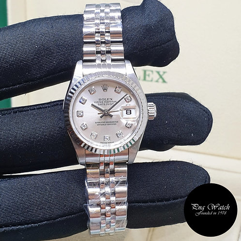 Rolex Oyster Perpetual 26mm Ladies Silver Diamonds Datejust REF: 79174 (K)(2)