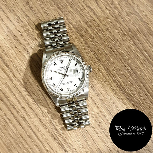 Rolex Oyster Perpetual White Small Roman Datejust REF: 16200 (2)