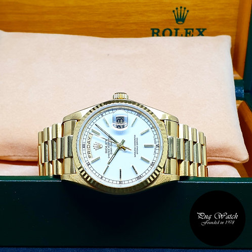 Rolex Oyster Perpetual 18K Yellow Gold White Indexes Day-Date REF: 18038