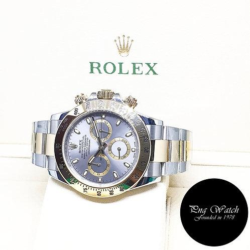 Rolex OP 18K Half Gold Grey Daytona REF: 116523 (AN Series)(Blue Lume)