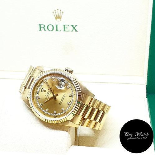 Rolex OP 18K Yellow Gold Champagne String Diamonds Day-Date REF: 18238 (E)