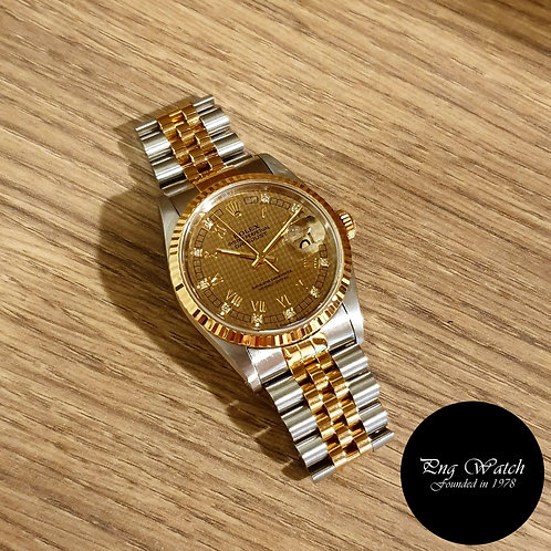 Rolex 18K Half Gold Houndstooth Diamond Datejust REF: 16233 (2)