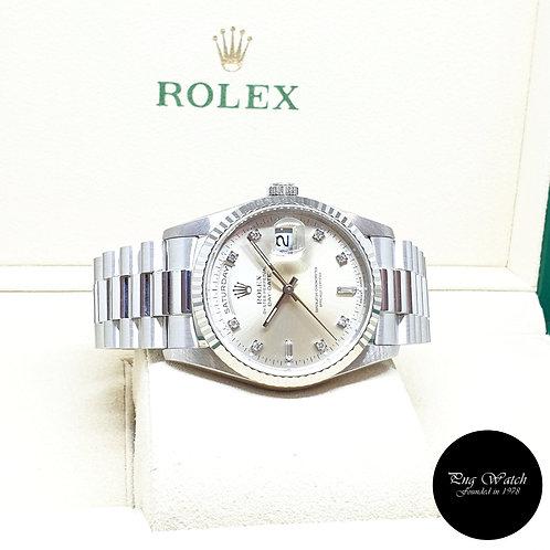 Rolex OP 18K White Gold Silver Vignette Diamonds Day-Date REF: 18239