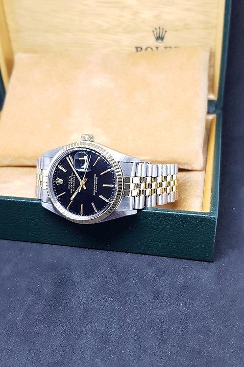 Rolex Oyster Perpetual Black Half Gold Datejust REF:16013