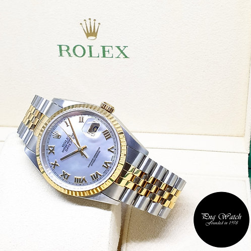 Rolex Oyster Perpetual 18K Half Yellow Gold Roman MOP Datejust REF: 16233 (T)