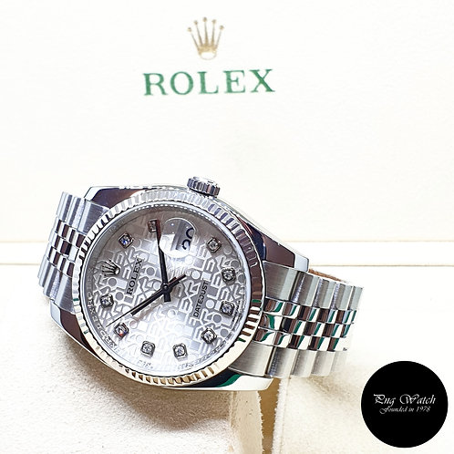 Rolex Oyster Perpetual 36mm Silver Computer Diamonds Datejust REF: 116234