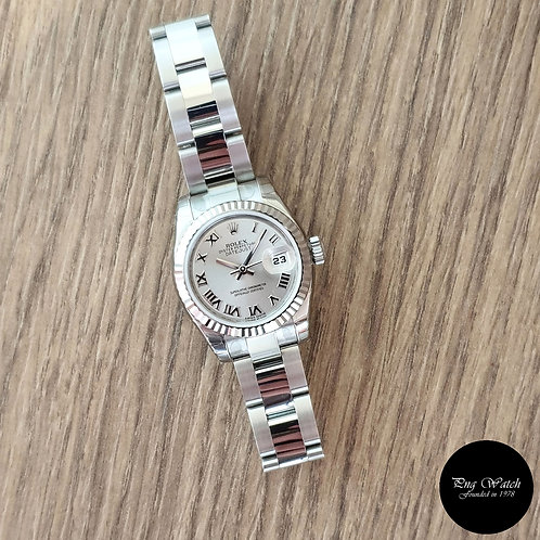 Rolex Oyster Perpetual Silver Roman Datejust REF: 179174 (2)