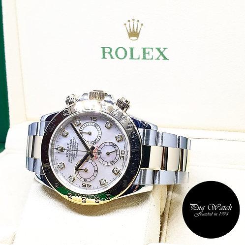 Rolex 18K Half Gold MOP Diamonds Daytona REF: 116523