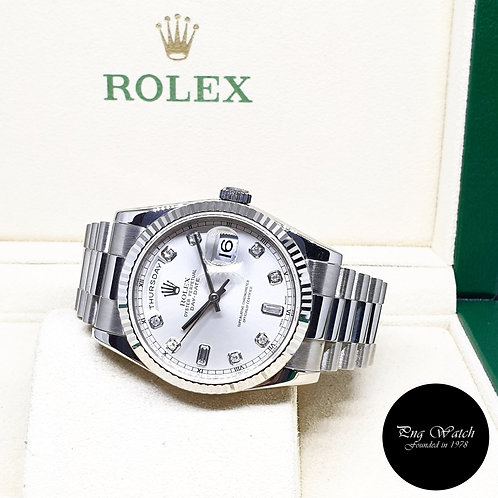 Rolex Oyster Perpetual 18K WG Silver Diamonds Day-Date REF: 118239