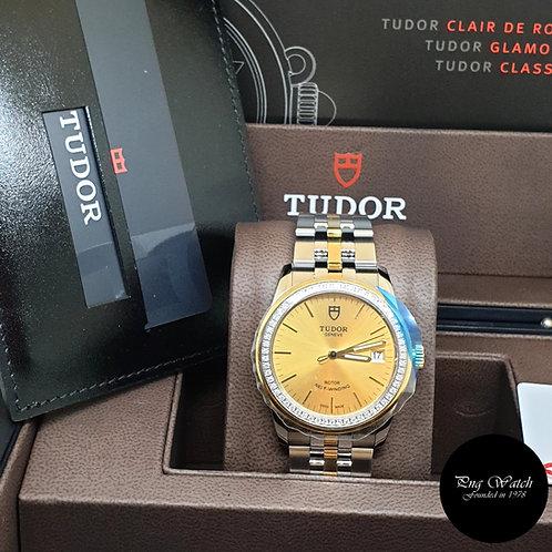 Tudor 36mm Glamour Date 18K Half Yellow Gold Champagne Diamond Bezel REF: 55023