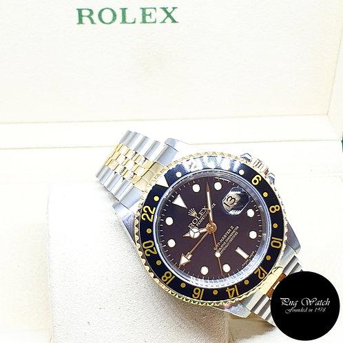 Rolex Oyster 18K Half Gold Black GMT Master 2 Jubilee Bracelet REF: 16713 (P)