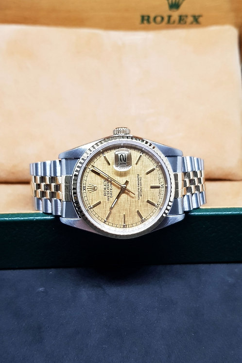 Rolex Oyster Perpetual Champagne Linen Datejust REF: 16233