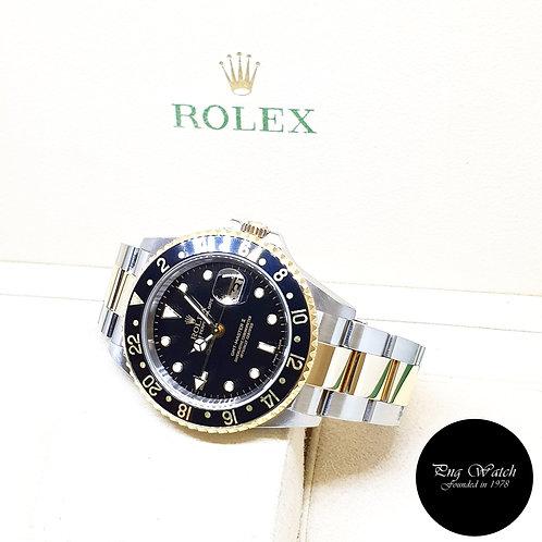 Rolex Oyster 18K Half Gold Black GMT Master 2 REF: 16713 (2005)