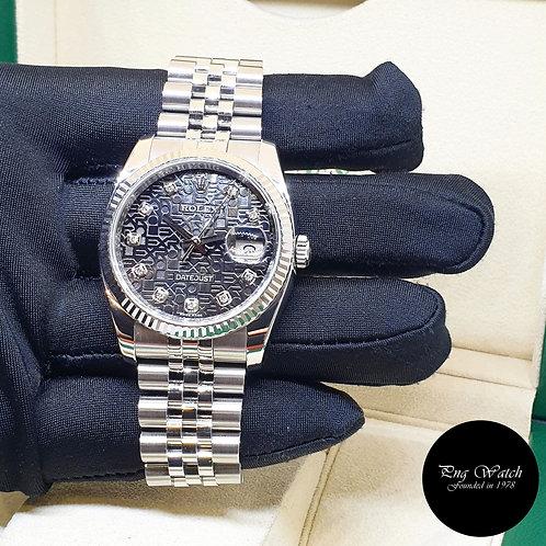 Rolex Oyster Perpetual 36mm Black Computer Diamonds Datejust REF: 116234 (2)