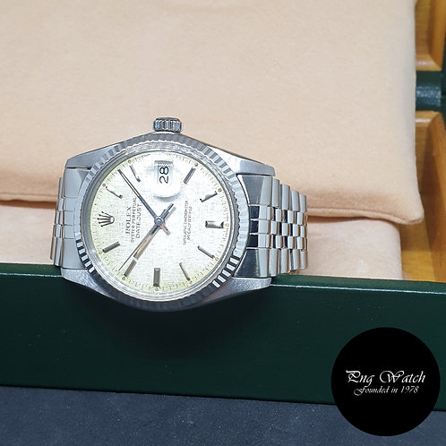 Rolex Oyster Perpetual Silver Linen Datejust REF: 16014