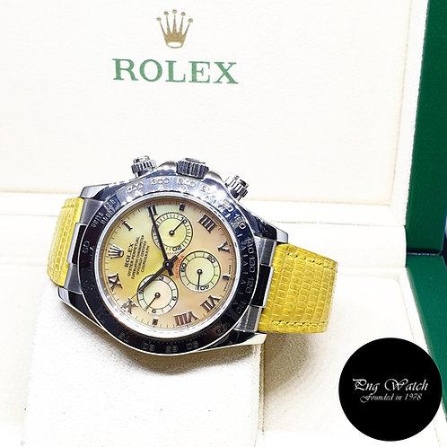 "Rolex OP 18K White Gold ""Beach Edition"" Yellow MOP Daytona REF: 116519"
