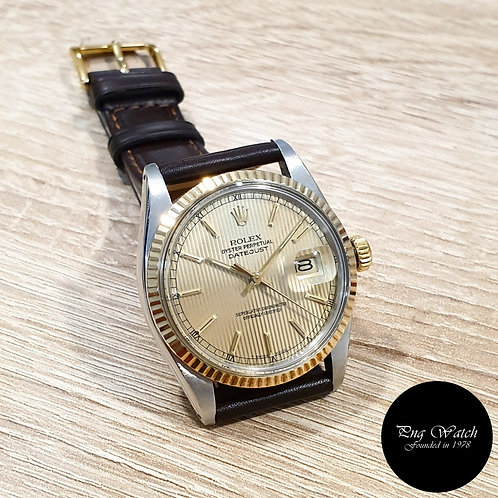 Rolex Oyster Perpetual 14K Half Gold Champagne Tapestry Datejust REF: 16013 (2)