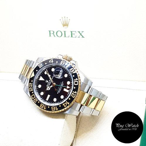 Rolex Oyster Perpetual Ceramic 18K Half Gold Black GMT Master 2 REF: 116713LN