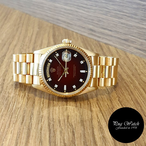 Rolex OP 18K Yellow Gold Red Degrade Vignette Diamonds Day-Date REF: 18038 (2)