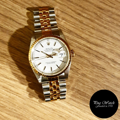 Rolex OP 18K Half Gold White Indexes Datejust REF: 16233 (2)