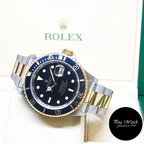 Rolex 40mm Oyster Perpetual 18K Half Gold Black Submariner Date REF: 16613 (X)