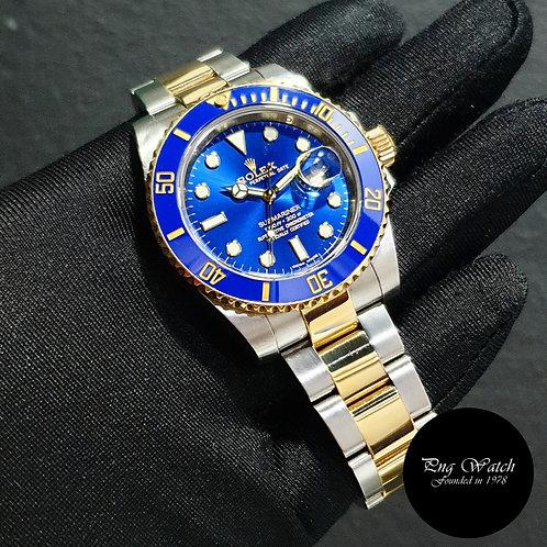 Rolex Ceramic 18K Half Yellow Gold Sunburst Blue Submariner Date 116613LB (2)