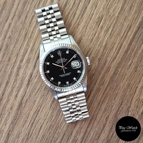 Rolex Oyster Perpetual Black 10PT Diamonds Datejust REF: 16234 (2)