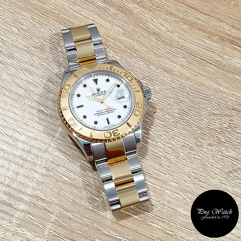 Rolex Oyster Perpetual 40mm White 18K Half Gold Yachtmaster REF: 16623 (M)(2)
