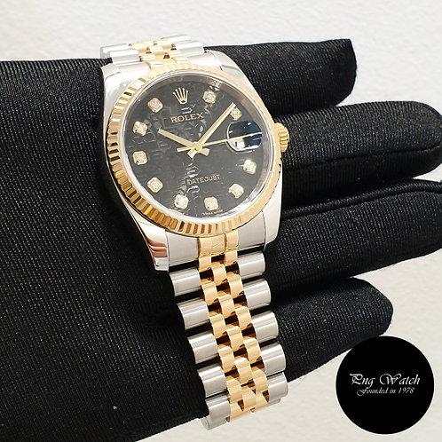 Rolex 18K Half Gold Black Computer 10PT Big Diamonds Datejust REF: 116233 (2)